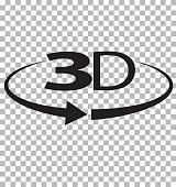 3D icon on transparent background. 3D sign. flat style.