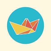 icon origami paper boat