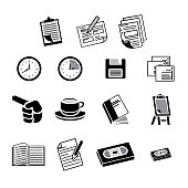 Icon pictogram, office supplies, clipboard, form, papers, clock, diskette, slides, hands indicating, cup, binder, flip chart, book, cassette tape, video tape. Ideal for catalogs and information