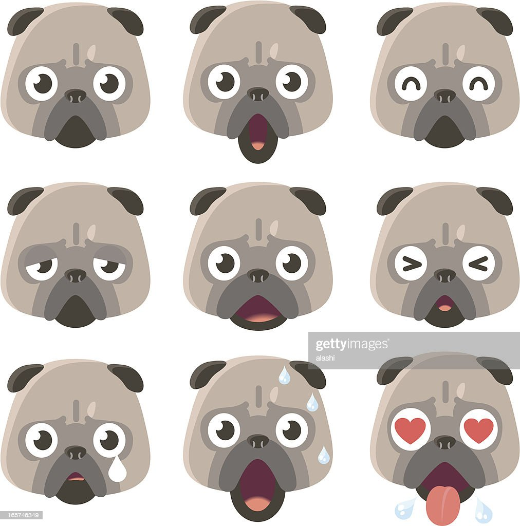 Icon ( Emoticons ) - Pug Dog in various moods