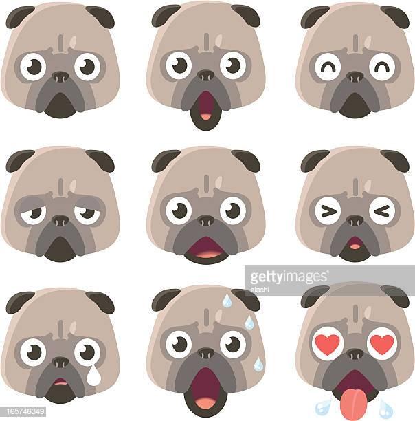 icon ( emoticons ) - pug dog in various moods - animal saliva stock illustrations, clip art, cartoons, & icons