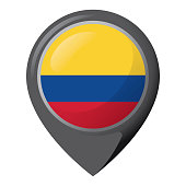 Icon representing location pin with the flag of Colombia. Ideal for catalogs of institutional materials and geography