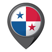Icon representing pin of location with the flag of Panama. Ideal for catalogs of institutional materials and geography