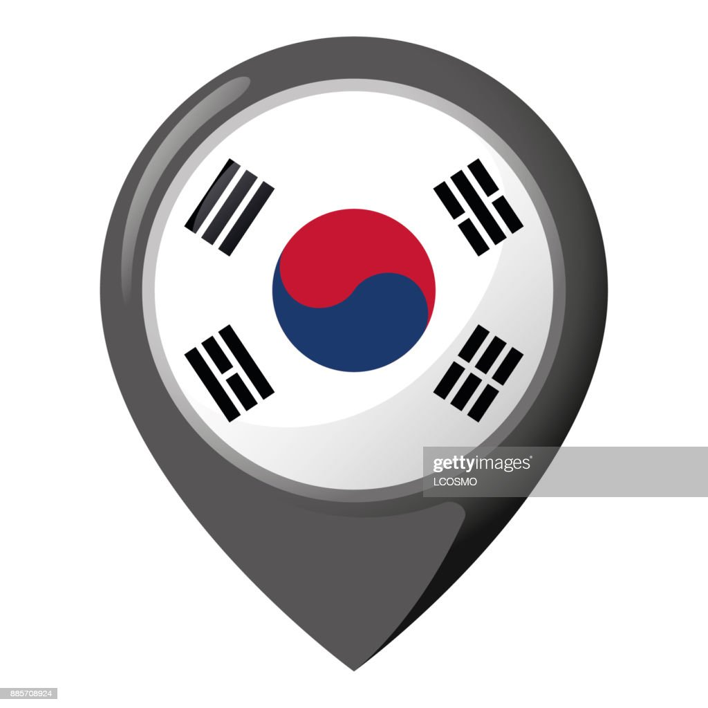 Icon representing pin of location with the flag of South Korea. Ideal for catalogs of institutional materials and geography