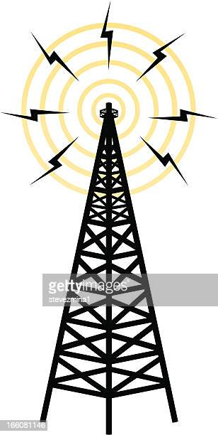 icon representing wireless transmission tower - podcasting stock illustrations, clip art, cartoons, & icons