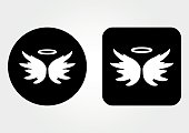 Icon schematic image of an angel. Nimbus, Wings. Set of round and square web button. White on a black background.