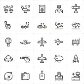 Icon set – airplane and airport vector illustration