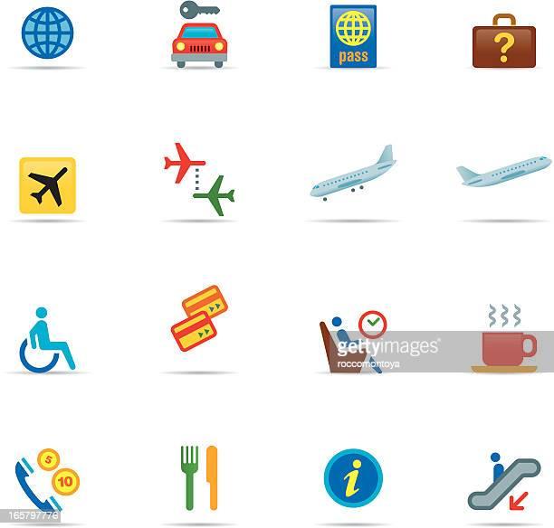 ilustraciones, imágenes clip art, dibujos animados e iconos de stock de conjunto de iconos color, aeropuerto - alquiler de coche