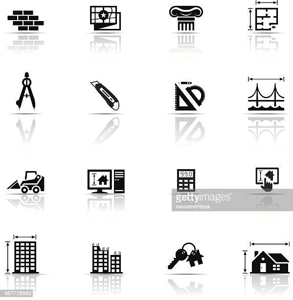 icon set, architecture - protractor stock illustrations, clip art, cartoons, & icons