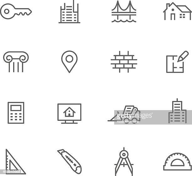 icon set, architecture - brick stock illustrations