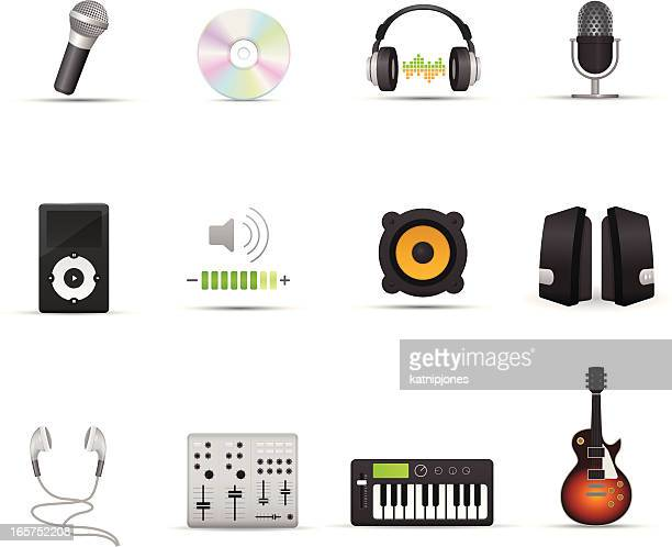 icon set - audio devices - bass instrument stock illustrations, clip art, cartoons, & icons