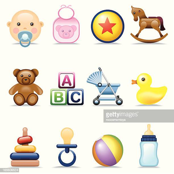 icon set, babies - baby carriage stock illustrations
