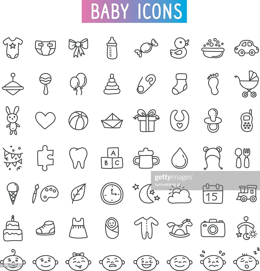 icon set. Baby, toys and emotions