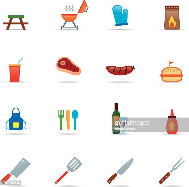 icon set, barbecue grill color - sirloin steak stock illustrations, clip art, cartoons, & icons