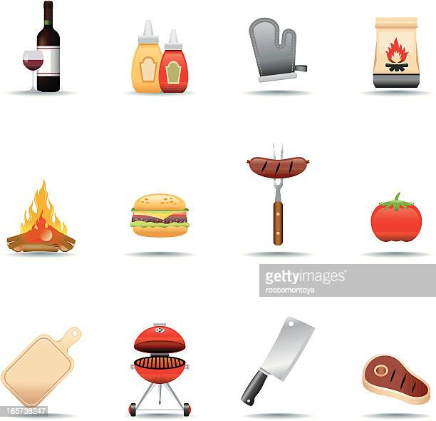 icon set, barbecue grill - sirloin steak stock illustrations, clip art, cartoons, & icons