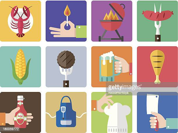 ilustraciones, imágenes clip art, dibujos animados e iconos de stock de conjunto de iconos de barbacoa a la parrilla - pollo asado