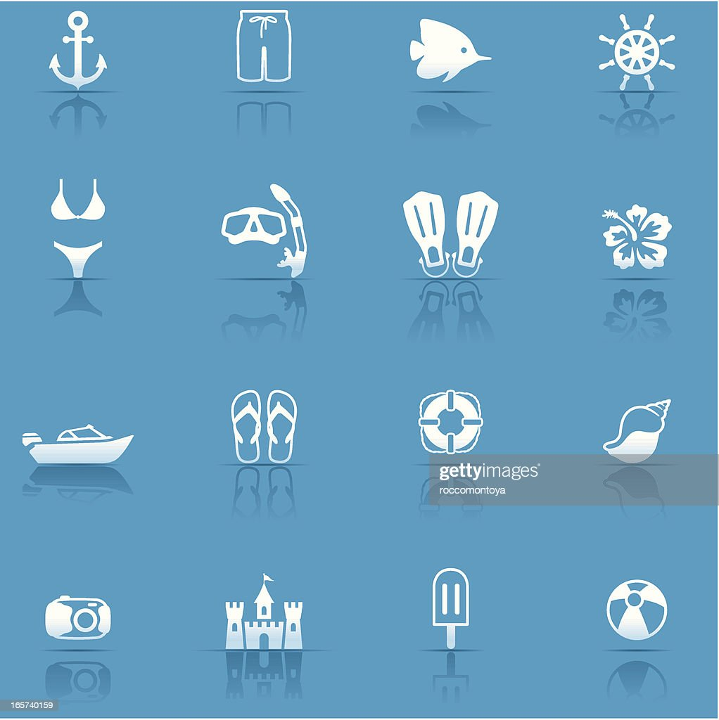 Icon Set, Beach and vacations : stock illustration