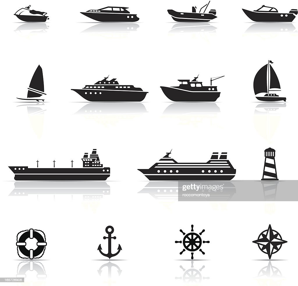 Icon Set, boats and ships : stock illustration
