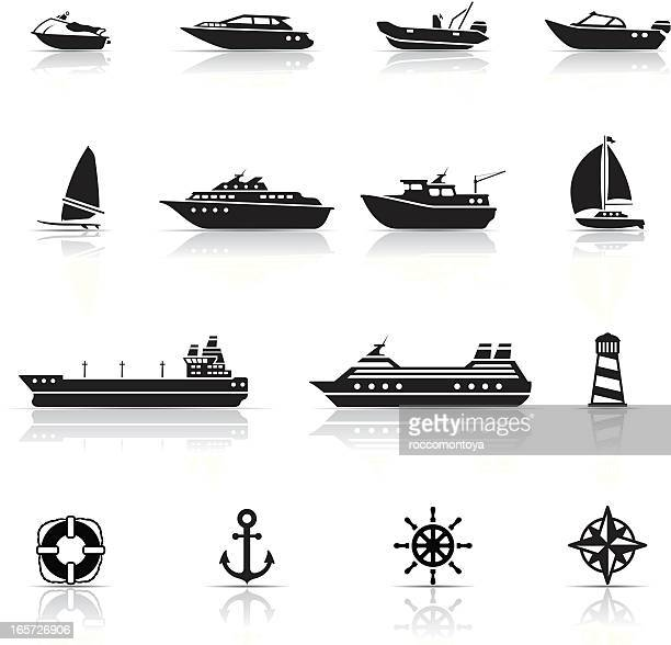 icon set, boats and ships - nautical vessel stock illustrations