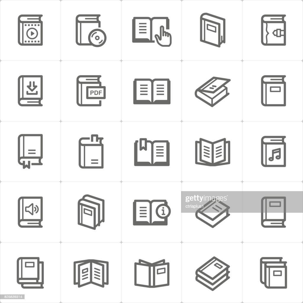 Icon set - book outline stroke vector illustration