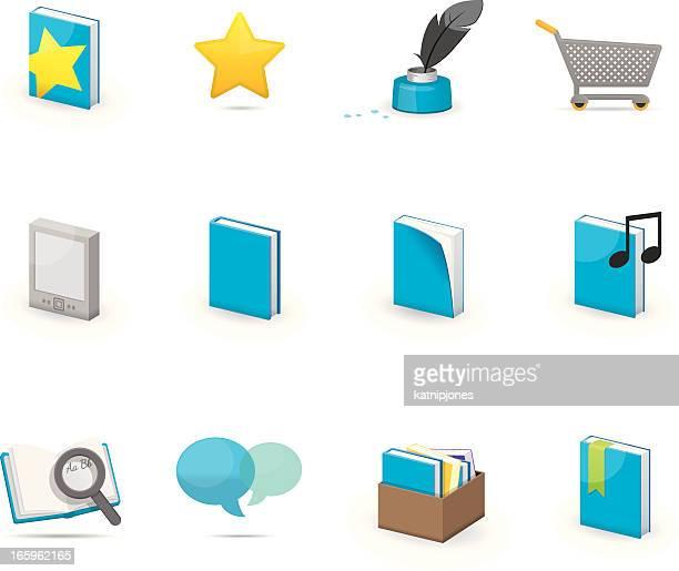 ilustrações, clipart, desenhos animados e ícones de conjunto de ícones-reserve shop - livro de capa dura