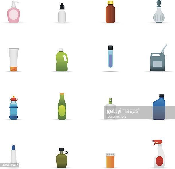 ilustrações, clipart, desenhos animados e ícones de ícone conjunto de garrafas e recipientes de cor - bebida alcoólica