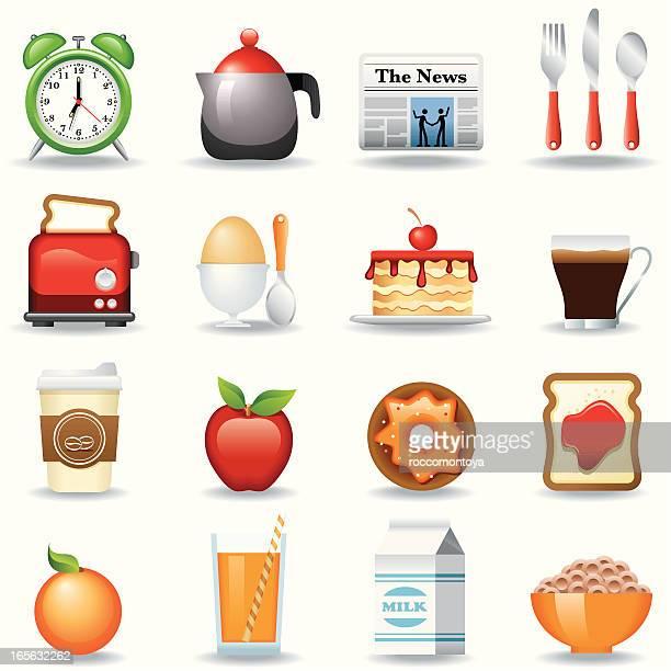 icon set, breakfast - marmalade stock illustrations, clip art, cartoons, & icons