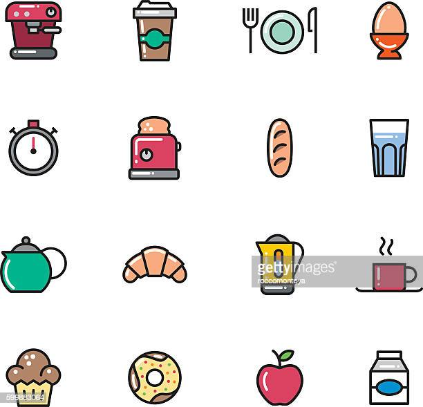 icon set, breakfast - muffin stock illustrations, clip art, cartoons, & icons
