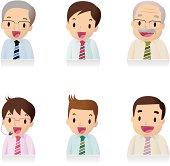 Icon Set ( Emoticons ) - Businessman , Office Worker, Teacher