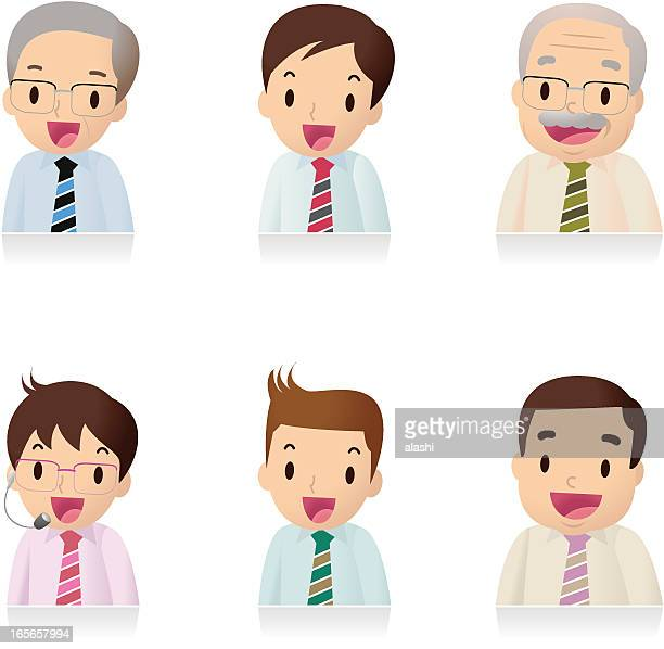 Icon Set ( Emoticons ) - Businessman , Office Worker, Teacher