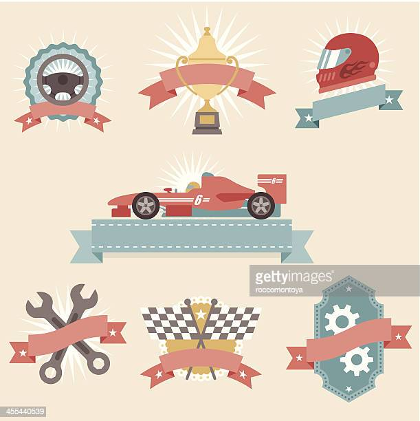 icon set, car race concepts - formula one racing stock illustrations, clip art, cartoons, & icons