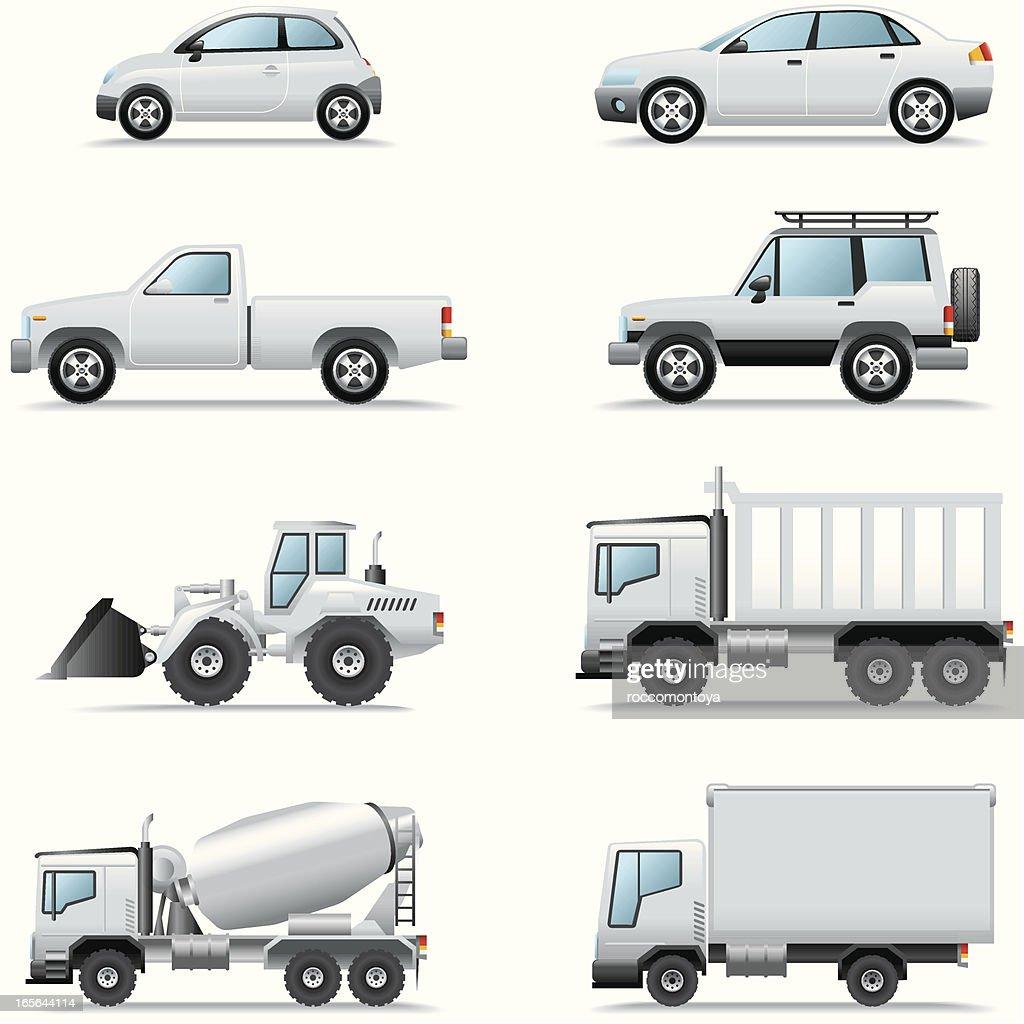 Icon Set, Cars and Trucks : stock illustration