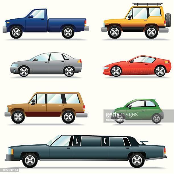 icon set, cars - sedan stock illustrations, clip art, cartoons, & icons
