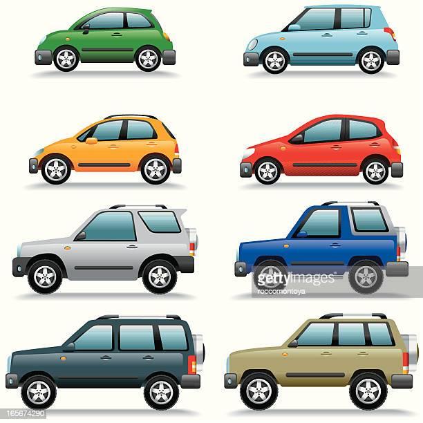 icon set, cars - domestic car stock illustrations, clip art, cartoons, & icons