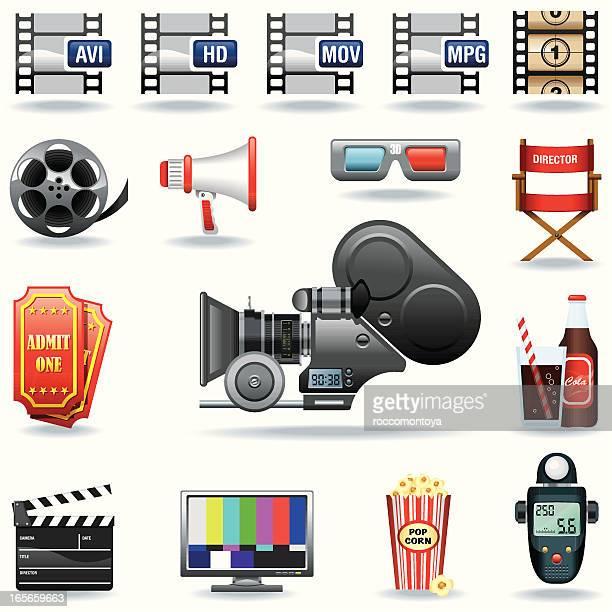icon set, cinema - light meter stock illustrations, clip art, cartoons, & icons
