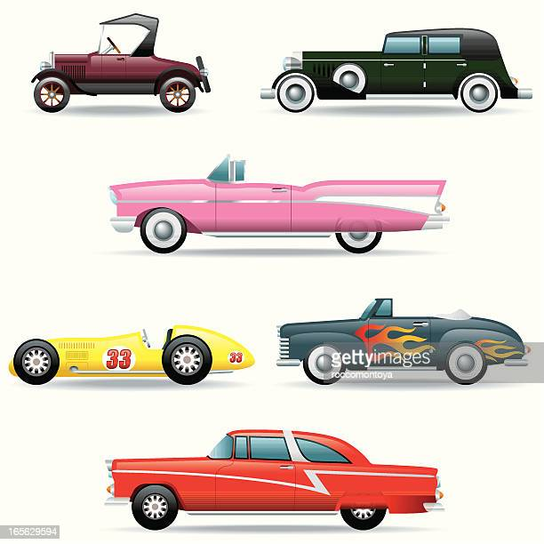 icon set, classic cars - race car stock illustrations, clip art, cartoons, & icons