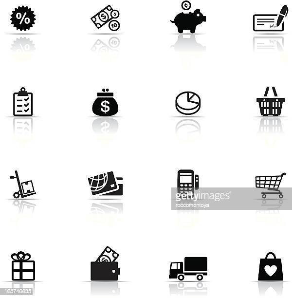 icon set, commerce and retail - credit card reader stock illustrations, clip art, cartoons, & icons