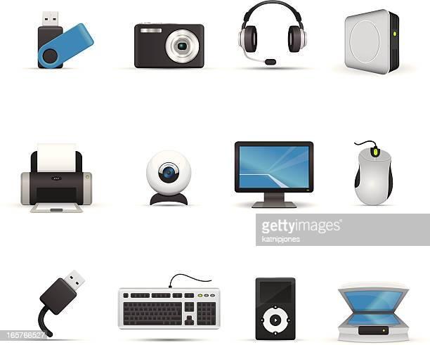 icon-set-computer und peripheriegeräte - computertastatur stock-grafiken, -clipart, -cartoons und -symbole