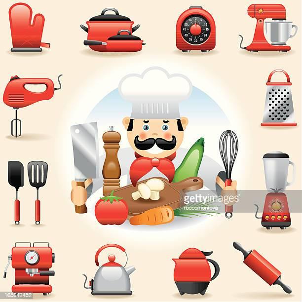 アイコンセットの料理 - 熱映像点のイラスト素材/クリップアート素材/マンガ素材/アイコン素材