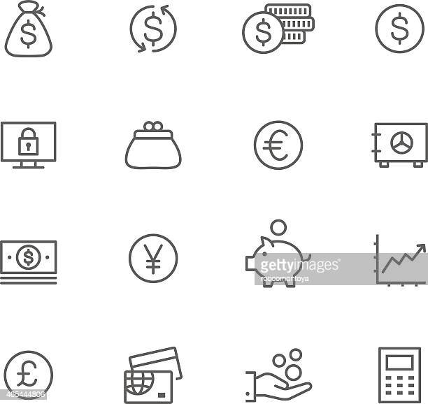 icon set, currency - us paper currency stock illustrations, clip art, cartoons, & icons