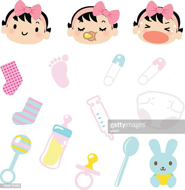 Icon Set - Cute Babies Emoticons and Baby Goods