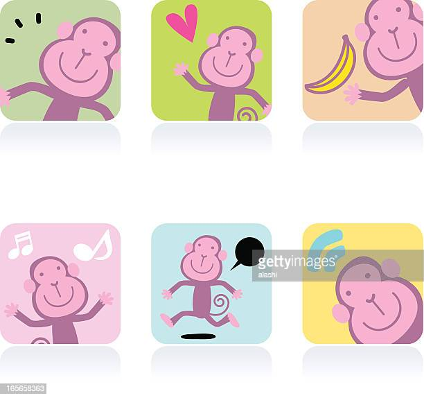 icon set( emoticons ) - cute monkey - love at first sight stock illustrations