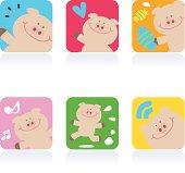 Icon Set( Emoticons ) - Cute Pig