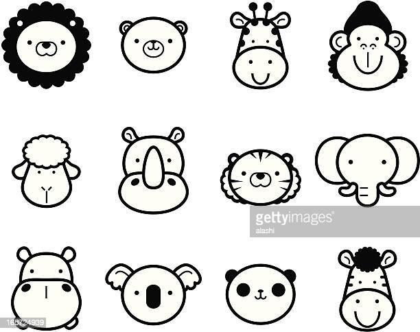 icon set: cute zoo animals in black and white - cute stock illustrations
