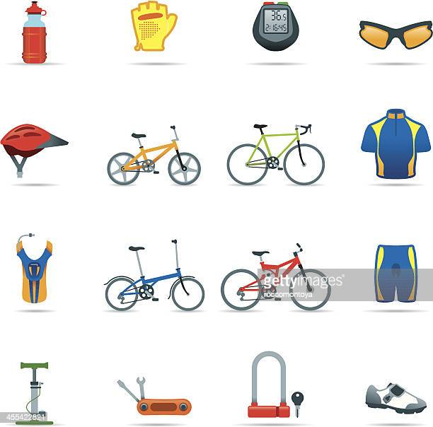 icon set, cycling things color - bike helmet stock illustrations, clip art, cartoons, & icons