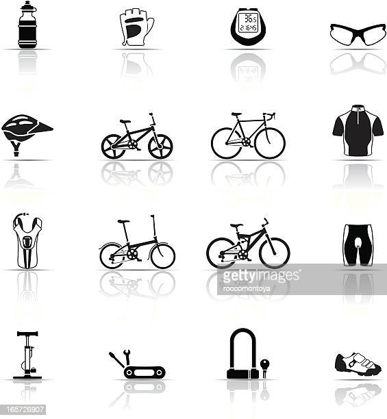 icon set, cycling things - racing bicycle stock illustrations