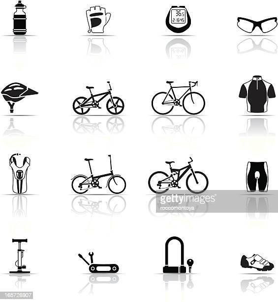 icon set, cycling things - bike helmet stock illustrations, clip art, cartoons, & icons