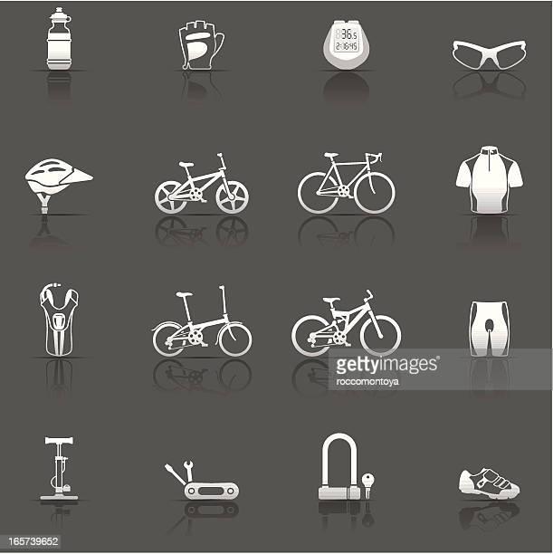 icon set, cycling - bike helmet stock illustrations, clip art, cartoons, & icons
