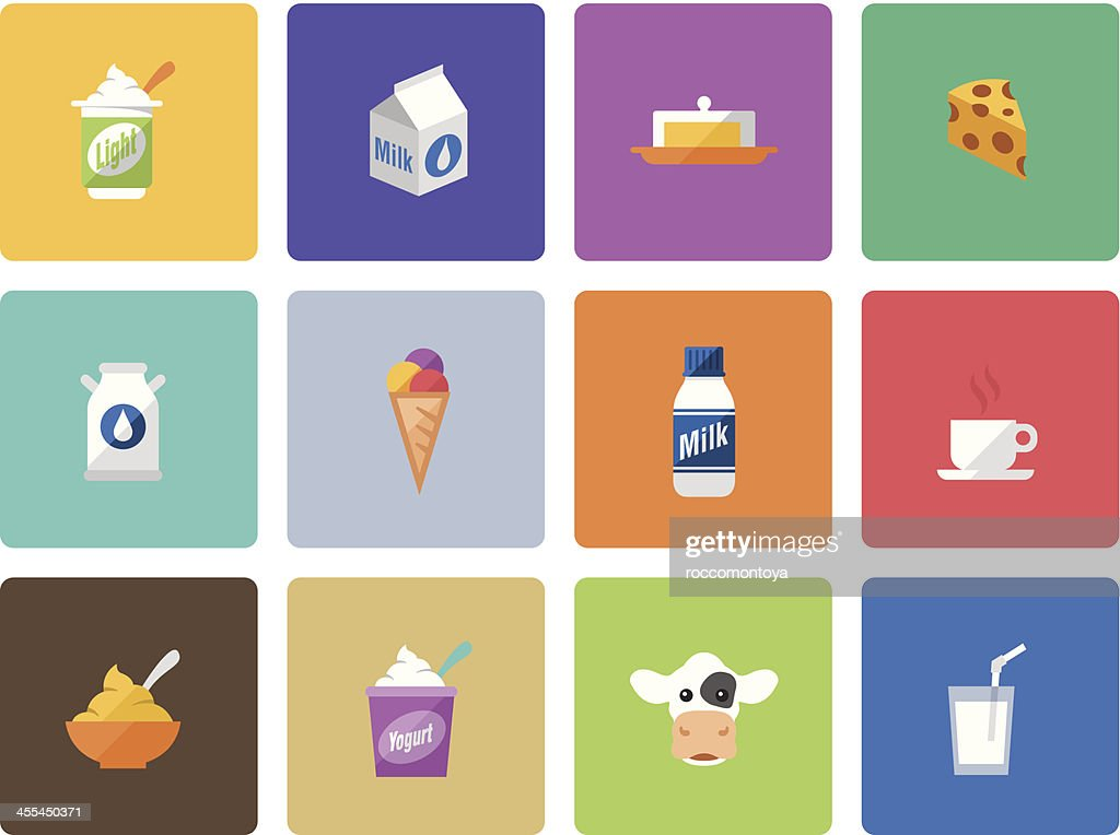 Icon Set, Dairy product Color : stock illustration