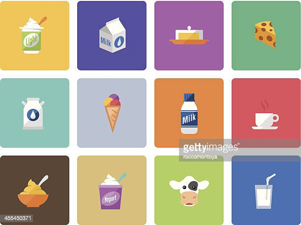 icon set, dairy product color - milk bottle stock illustrations